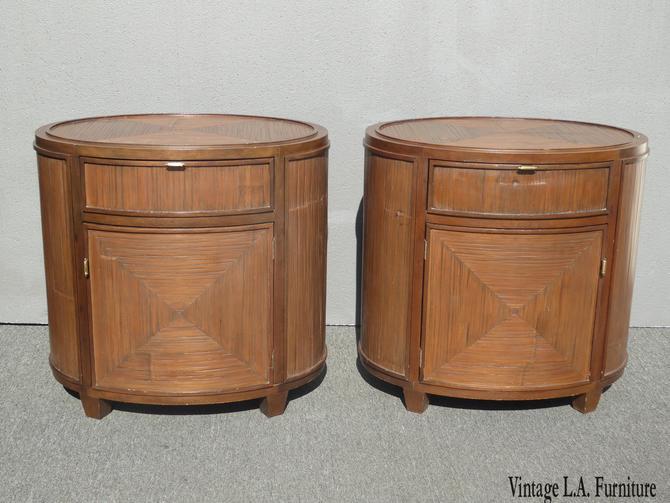 Pair of Vintage McGuire Furniture Brown Oval Bamboo Reed Nightstands by VintageLAfurniture