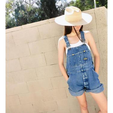 OshKosh Union Overalls // vintage USA 70s denim shorts boho hippie jean jeans dress cut-offs cutoffs cut offs // O/S by FenixVintage