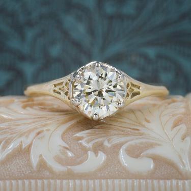 .85 carat Diamond Solitaire Gold Filigree Ring c1930
