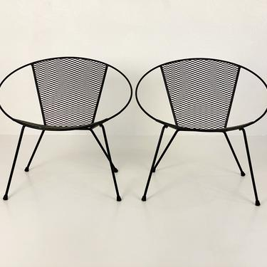 Restored Iron Hoop Patio Chairs in Black, Circa 1960s - *Please ask for a shipping quote before you buy. by CoolCatVintagePA