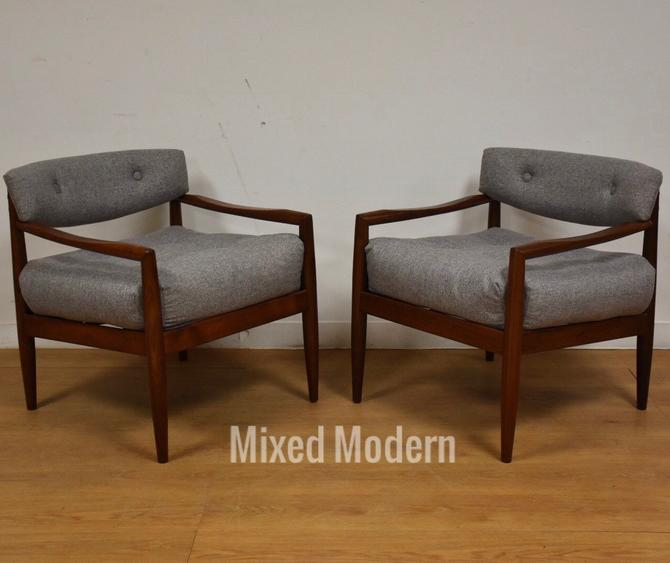 Adrian Pearsall Walnut & Grey Lounge Chairs- A Pair by mixedmodern1