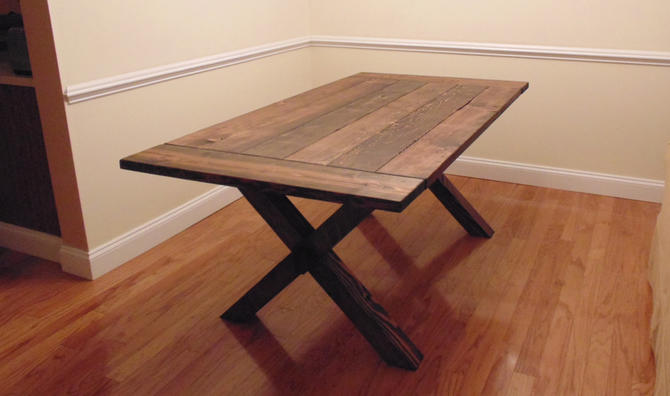 Somerset crossed leg dining table farmhouse reclaimed for Farmhouse table plans with x legs