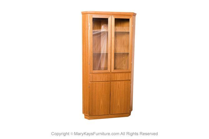 Mid Century Teak Glass Lighted Curio Corner Cabinet by Skovby by Marykaysfurniture