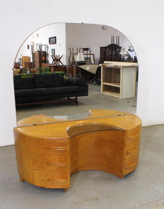 Mid-Century Modern Heywood Wakefield Crescendo Champagne Vanity w/ Mirror by AnnexMarketplace