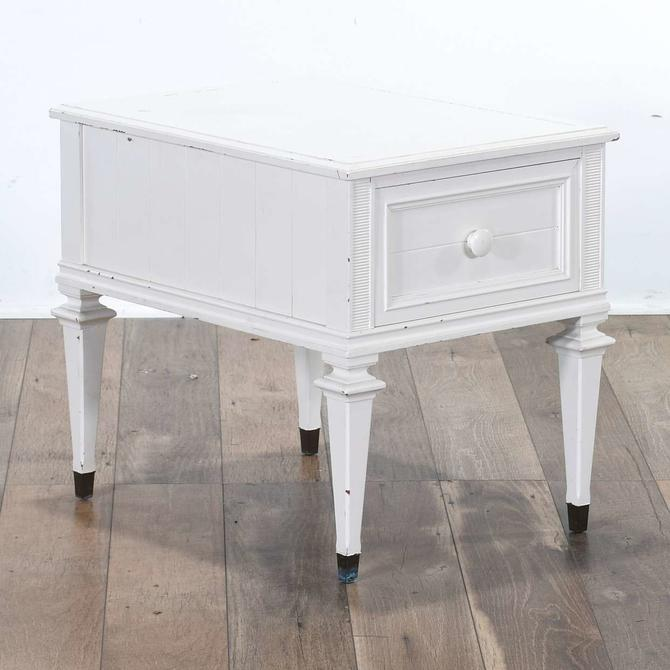 White Cottage Chic End Table W Storage