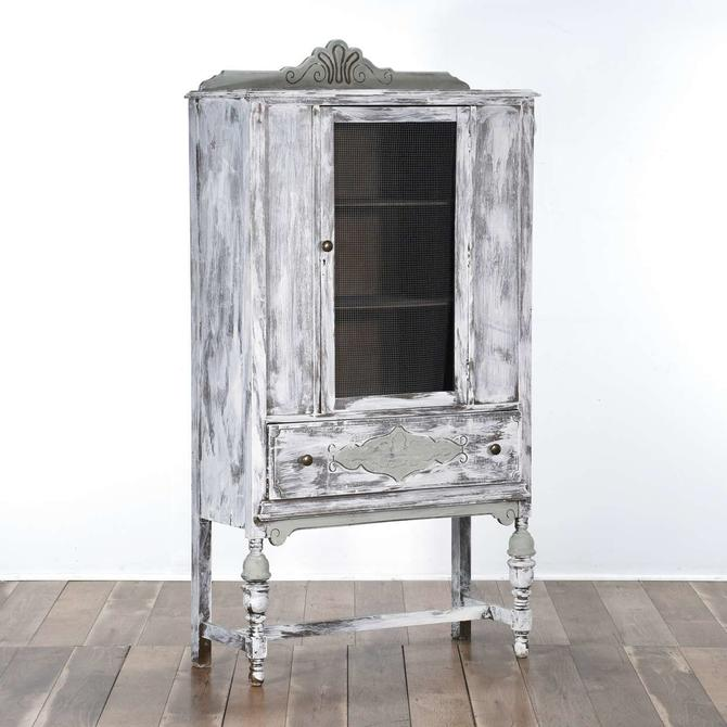 Whitewashed Cottage Chic French Provincial Cabinet
