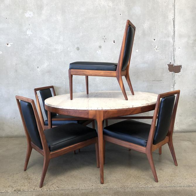 Solid Walnut Travertine Top Dining / Game Table & Chairs
