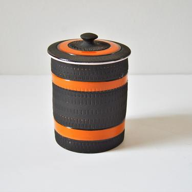 Small Italian Modern Pottery Canister Jar with Lid by Bitossi, Made in Italy by SourcedModern