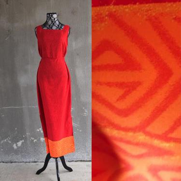 90s Silk Dress | Red Dress | Print Dress | Summer Sun Dress | Medium Dress M | Size 10 Dress | Tank Dress | Maxi Dress | Modest Dress Beach by aphroditesvintage