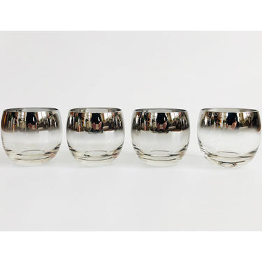 Mid Century Silver Fade Roly Poly Cocktail Glasses / Set of 4 by SergeantSailor