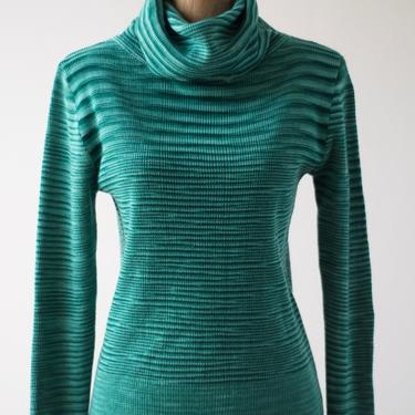 70s Vintage Teal Space Dyed Cowl Neck Sweater by Zayre, Acrylic Stretchy Pullover Turtleneck Shades of Blue-Green Stripes Long Sleeve Retro by MOBIUSMOD