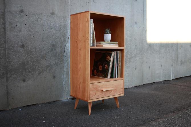 """Halfstack Bookcase, 43""""H, Mid-Century Modern LP Storage, Record Storage, Modern Vinyl Storage (Shown in Cherry) by TomfooleryWood"""