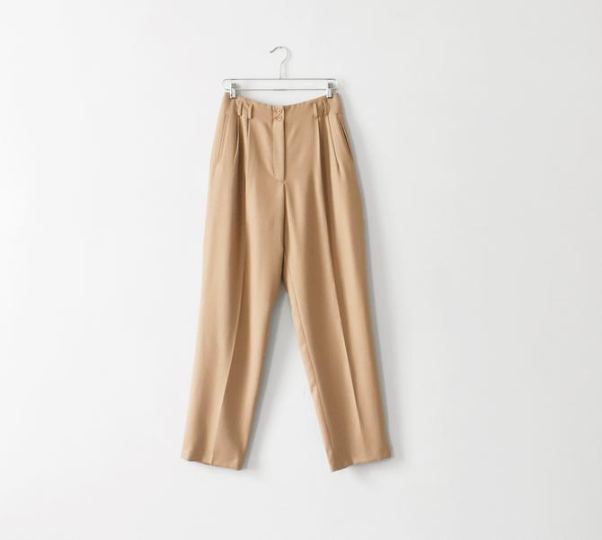 vintage beige wool trousers, 90s high waisted pants, size M - L by ImprovGoods