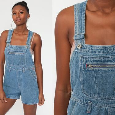 Denim Overall Shorts Jean Overalls 90s Grunge Jean Pocket Bibs Blue Streetwear Woman 1990s Vintage Cargo small by ShopExile