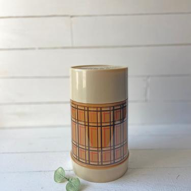Vintage Aladdin Best Boy Butterscotch Brown Plaid Mouth Thermos Bottle, Pint 7.25 inches // 1970's Thermos, Soup Holder // Perfect Gift by CuriouslyCuratedShop