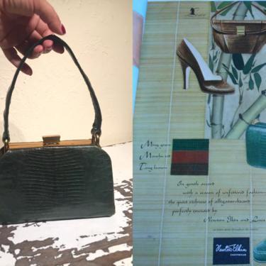Quiet Richness - Vintage 1940s Ming Green Dark Green Reptile Lizard Leather Box Handbag Purse by RoadsLessTravelled2