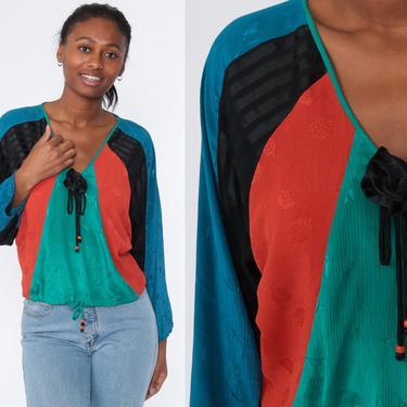 Vintage Diane Freis Blouse Color Block Shirt 80s Blouse Luxury Designer Embossed Leaf Print Striped Vintage Long Sleeve Oversized Medium by ShopExile