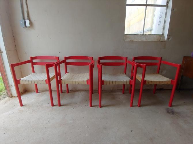 Danish Modern Red Dining Chairs Designed by Niels Jorgen Haugesen by ModandOzzie