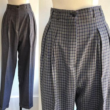 80's Vintage PLAID PLEATED TROUSERS / High Waist + Baggie Fit + Cuffs by CharmVintageBoutique