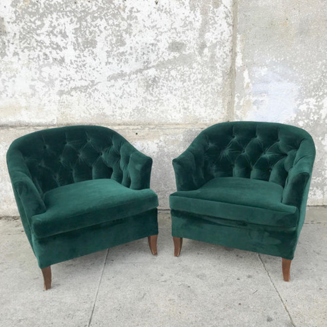 Vintage tufted Emerald Lounge chair - reupholstered