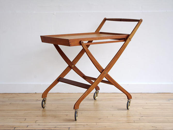 Teak Hans Wegner Style Folding Bar Cart