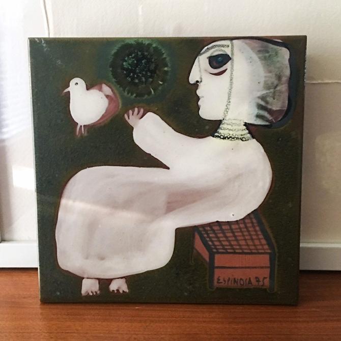 Susana Espinosa Greens Tile Plaque Vintage Puerto Rico Art Pottery Mid Century Casa Candina Ceramic Studio 1975 by CaribeCasualShop