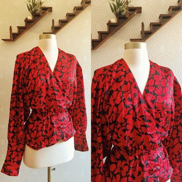 1980's JAEGER Red and Black Floral Wrap Blouse, 80s Wrap Blouse, Vintage Wrap Blouse, Vintage Floral Blouse by FolkandCup