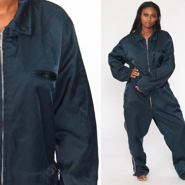Navy Coveralls Blue Jumpsuit Pants Workwear Uniform Outfit 80s One Piece Long Sleeve Work Wear Boiler Suit Vintage 1980s Extra Large xl by ShopExile