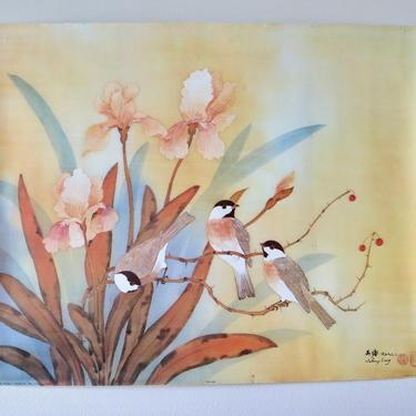 Vintage Art - Swallows Lithograph by Johnny Lung - Gold Brown Rust Colored Bird Art - Vintage Bird Art by SoulfulVintage