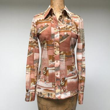 """Vintage 1970s Nylon Blouse, 70s Fitted Asian Novelty Print Top, Lady Manhattan, Small 34"""" Bust by RanchQueenVintage"""