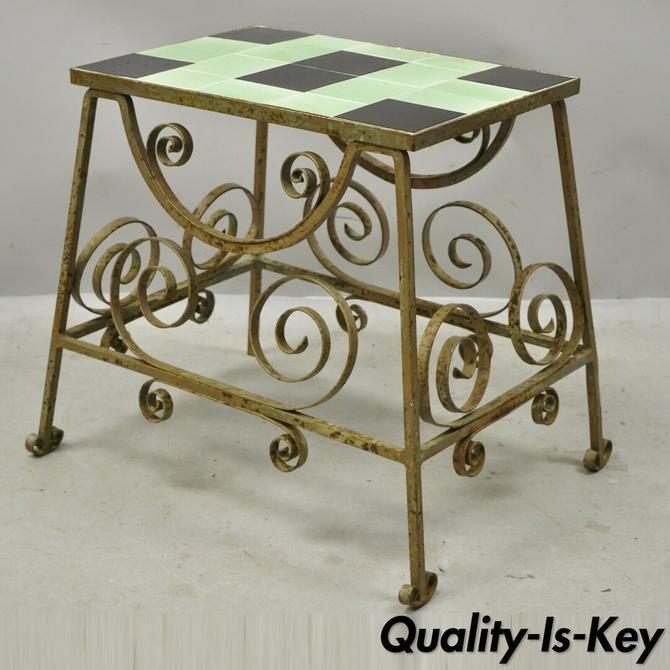 20th C. Antique Art Nouveau Deco Green & Black Tile Wrought Iron Accent Table