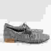 Sergio Pagnini Metallic Woven Lace Up Flats, Size 39