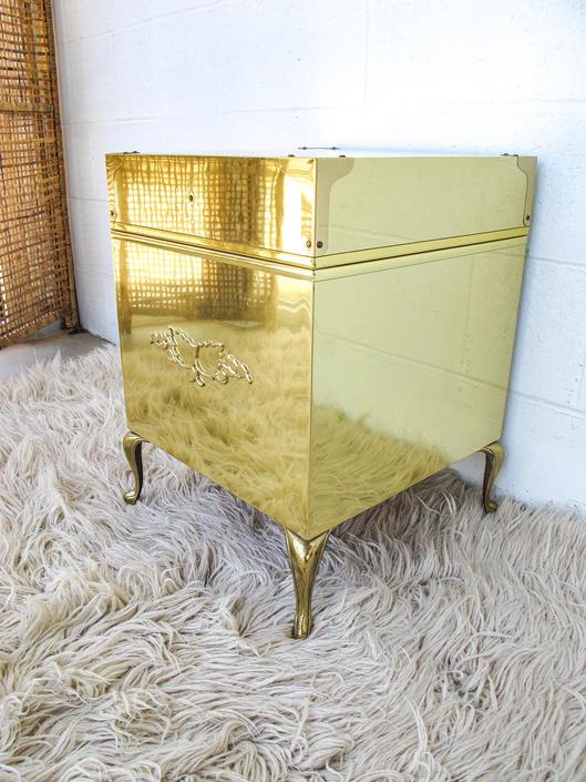 Vintage 1960s Gold Brass Hollywood Regency Style Wood Lined Chest by PortlandRevibe