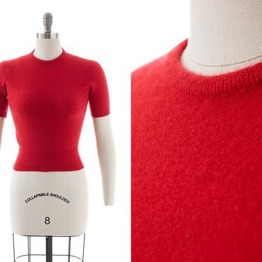 Vintage 1950s Sweater | 50s DALTON Cashmere Knit Red Short Sleeve Cropped Pullover Sweater Top (x-small/small) by BirthdayLifeVintage