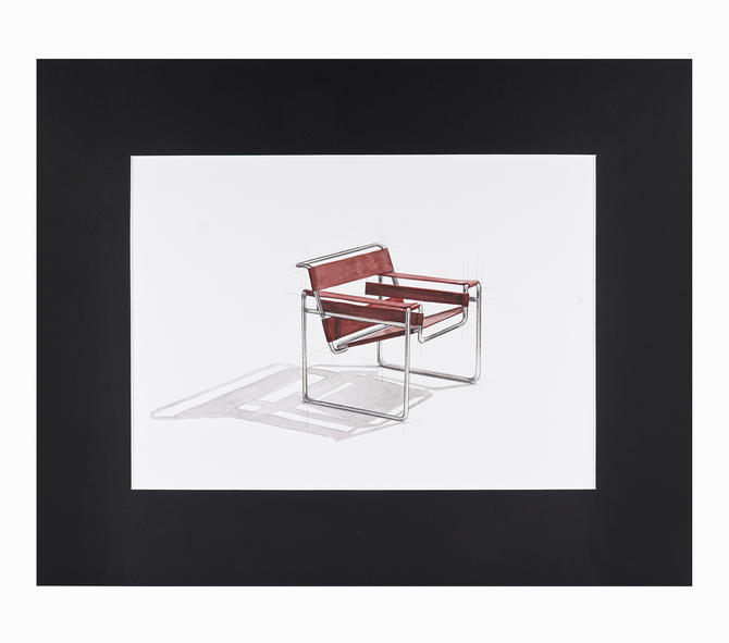 Watercolor Painting Wassily Chair Knoll Marcel Breuer Interior Design Mid Century Modern by VintageInquisitor