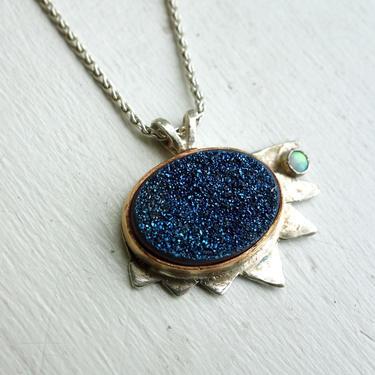 Blue Druzy and Opal Pendant Handmade in Sterling Silver with 14k Gold Fill Bezel by RachelPfefferDesigns