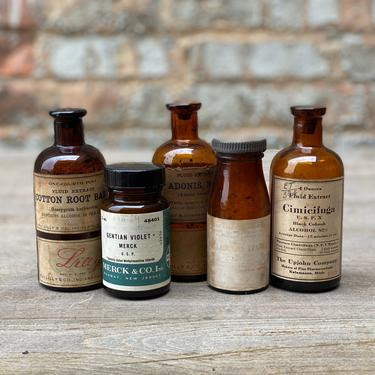 Vintage Medicinal Bottle Lot Wisconsin Apothecary Pharmacy Decor Display by NorthGroveAntiques