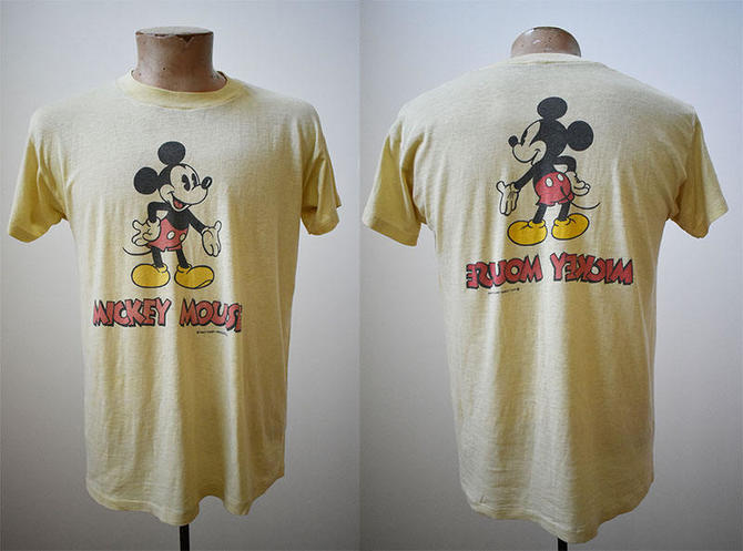 20b17d02 Vintage 1970s Mickey Mouse Tshirt / Pale Yellow Double Sided Mickey Tee / Retro  70s Mickey