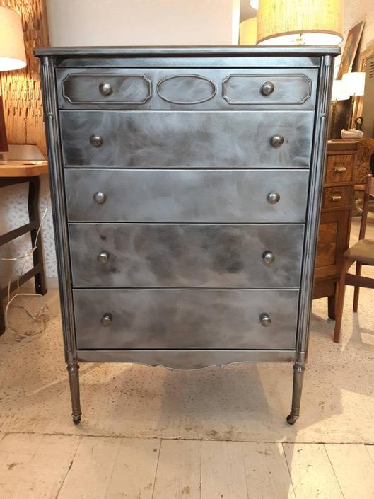 Vintage industrial Simmons stripped steel chest of  drawers by StateStreetSalvage