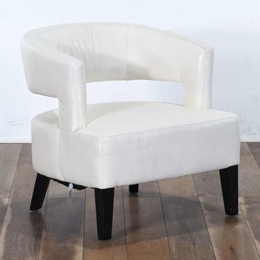 Contemporary White Barrel Back Armchair