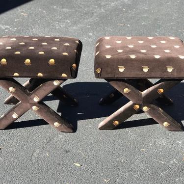Great pair of dark brown velvet stools - ottomans X base by HolbrookBazaar