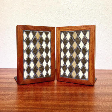 Vintage Martz Marshall Studios Diamond Tile & Walnut Bookends, 1950s Modernism by templeofvintage