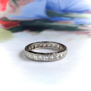 Art Deco French Cut Diamond Eternity Wedding Anniversary Stacking Band Platinum Size 5 by YourJewelryFinder