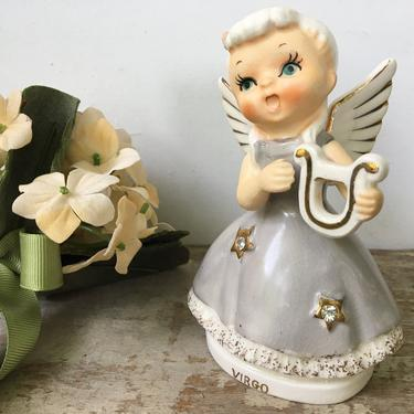 Vintage Virgo Angel, Birthday Angel August 23-September 22, Zodiac Angel, Astrology, Angel Holding Harp, Gem Stars On Dress by luckduck
