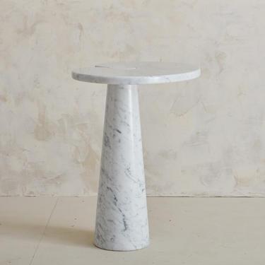 Carrara Marble Italian Side Table in the Style of Angelo Mangiarotti