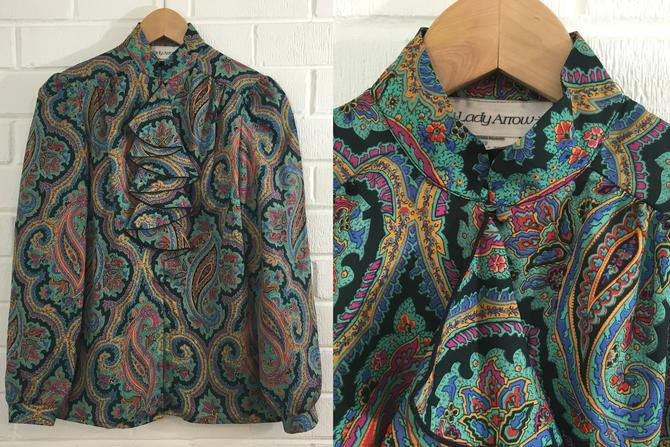 Vintage Paisley Top 70s Button Up 1970s Long Sleeve Psychodelic Ruffle Collar Pussybow Women's Size 8 Medium Lady Arrow Secretary Blouse by CheckEngineVintage
