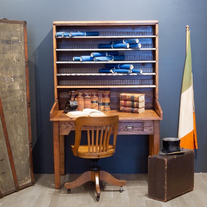 Antique Solid Oak Postal Sorting Desk c.1939