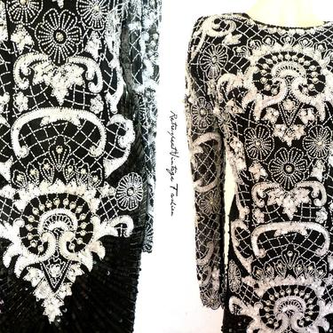 BLACK AND WHITE sequin gown, mosaic beaded dress, full length vintage sequin dress heavily embellished mother of the bride white pearl dress by ShopRVF