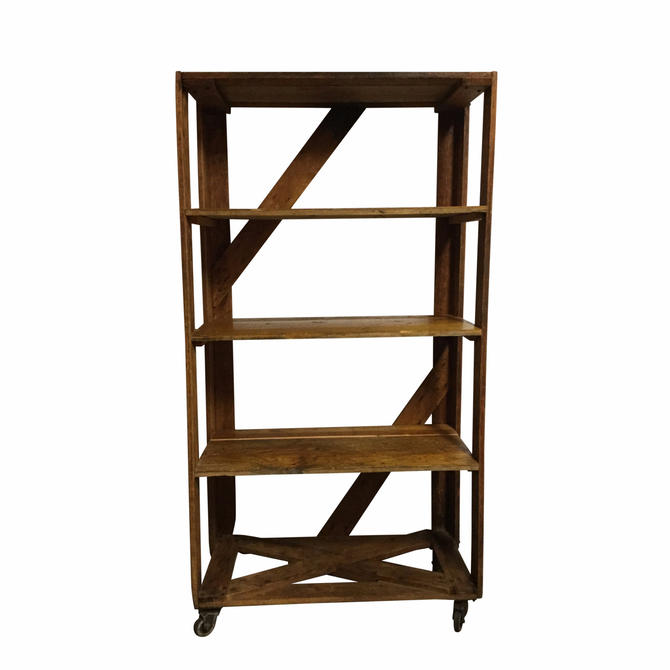 Rustic Wood and Metal Bookshelf on Casters
