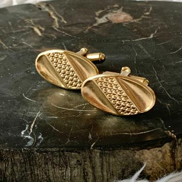Mod Abstract Cuff Links, Textured Gold Tone, Oval Cufflinks, Vintage 60s 70s by GabAboutVintage